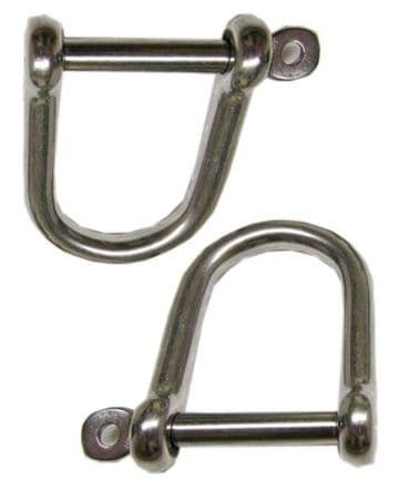 2 X 10mm STAINLESS STEEL MARINE WIDE DEE SHACKLES with CAPTIVE PINS yacht boat